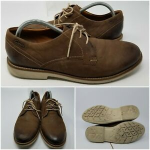 Clarks XL Extralight Brown Leather Lace Up Dress Oxford Shoes Men Size 10.5