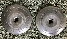 Two 10 Pound Barbell Weight Plates Olympic Plastic Coated Lifting Weights