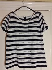 Worn once - Per Una sz 20 navy white striped short sleeved crochet / knit top