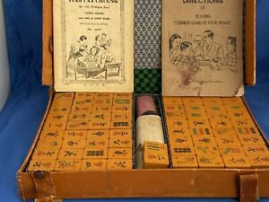 Vintage Mah Jong Two Tone Bakelite Tile Travel Set 146pcs
