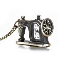 Chain Retro Alloy Pocket Watch Necklace Sewing Machine Design Pendant Vintage