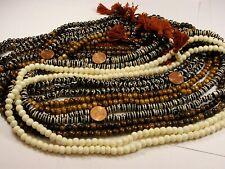 12 Water Buffalo Bone Mala Strands India Handmade Beads Wholesale Bulk Lot (J-9)