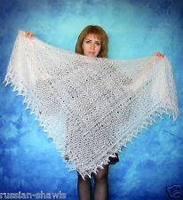 White Russian lace shawl,Wool wrap,Goat down kerchief,Bridal cover up,Stole,Cape