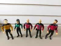 Lot of (6) Star Trek TNG posable Action Figures Playmates Toys. 1991.