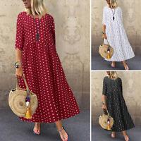 ZANZEA Womens Polka Dot Casual Loose Tunic Kaftan Maxi Dress Bohemian Sundress