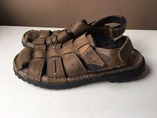 SKECHERS men's brown leather comfort sandals size 9/43