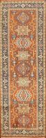 "Geometric 8 ft. Orange Indo Heriz Oriental Runner Rug Hand-knotted 8' 1"" x 2' 7"""
