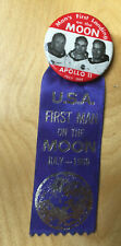 Apollo 11 Pin Ribbon First Landing on the Moon Armstrong Aldrin Collins 1969