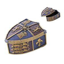 Medieval Crest Lion Shield Keepsake Jewelry Box Figurine Castle Le Fleur Trinket