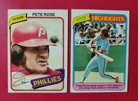 1980 Topps PETE ROSE (Philadelphia Phillies) 2 Card Lot (NM-MT) **HIT KING** WOW