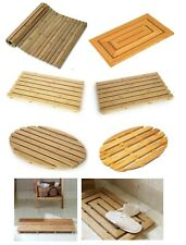 BAMBOO DUCK BOARD WOODEN NATURAL WOOD BATHROOM OVAL RECTANGULAR SHOWER BATH MAT