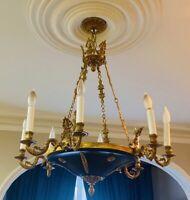 "Vintage French Empire Bronze Brass Tole Chandelier Stately 8 Light 28"""