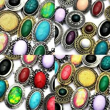 20pcs Big Mix Natural Stone Fashion Rings Wholesale Jewelry Lots Free Shipping