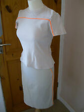 Size 10 Miss Selfridge Skirt & 12 Top Shop T-Shirt Biege Day glow Orange Stripe