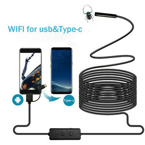 Wifi & USB Car Endoscope 8LED Inspection Borescope Camera 8mm Lens Waterproof