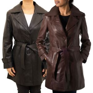 Womens Elegant 3/4 Leather Trench Style Coat with Belt Tie in Black and Brown