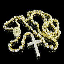 "DESIGNER ROSARY MENS WOMEN'S NEW NECKLACE 14K YELLOW GOLD FINISH LAB DIAMOND 32"""