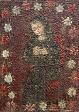 Ancien Tableau Huile Toile Portrait Enfant Fille En Priere 18eme Religieux 1788