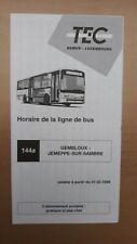 ► TEC Namur, 1 guide horaire ligne 144a, Gembloux - Jemeppe-sur-Sambre