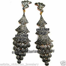 Diamond Silver Danglers Earring Jewelry Victorian Style 7.82Cts Genuine Rose Cut