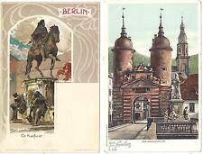 8 German Litho City View Postcards 1890-1910 Berlin, Heidelberg, Wiesbaden +