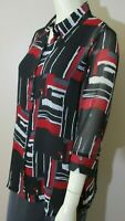 Color Block Chiffon Blouse sz 8 Black Red Gray White