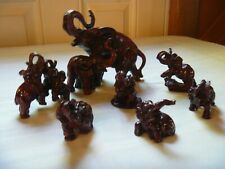 Red Elephant Resin Figurines Lot of 7