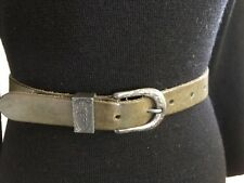 Esprit BELT S - M Genuine Leather Green distressed silver buckle vintage boho