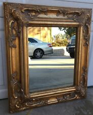 Vintage Ornate Gold Tone Hollywood Regency Style Gesso Wall Hanging Mirror