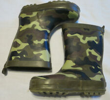 Waterproof Rubber Boots Boys 7/8 Camo Green/Black