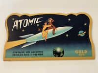 Vtg Midcentury Space Age Atomic Gold Eye 85pc Needles & Threader Set COMPLETE!