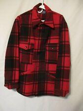 Pendleton Red/Black Plaid Mackinaw Wool Hunting Jacket - Size Medium