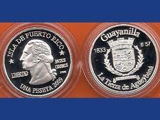 Silver PESETA GUAYANILLA  2009 Puerto Rico Boricua Quarter 1/100 Plata