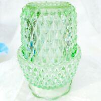 "Vintage Indiana Glass Seafoam Green Diamond Point Fairy Lamp 5"" USA"