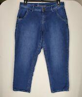 Lane Bryant Womens size 16 Dark Blue Denim Capri Stretch Jeans Zipper Closure