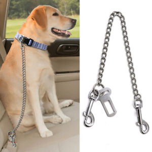 Dog Pet Safety Car Seat Belt Metal Chain Leash Stainless Steel Chew Proof S-XL