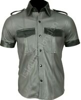 Mens Hot Genuine Real GREY BLACK Sheep LEATHER Police Uniform Shirt BLUF Gay