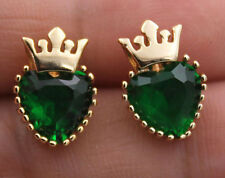 18K Yellow Gold Filled - Heart Crown Emerald Topaz Zircon Club Stud Earrings