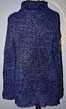 Navy Blue H&M Divided shag long Sweater Turtleneck Sweater Top Small S 90's CUTE