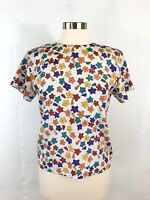Vintage 70s 80s Secretary Top Blouse Shell Silky Polyester Bright Crazy Floral