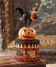 Bethany Lowe Vintage Inspired Halloween Cat Pumpkin on Box Decor