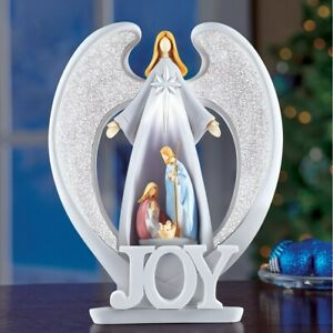 Lighted JOY Guardian Angel Nativity Scene Christmas Tabletop Sculpture