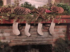 1 Country Burlap Natural Christmas Cotton Stocking about 5x3x7 in  x small