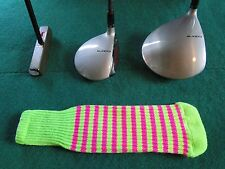 Knitted zebra style Fairway & Driver Golf Club head cover Neon Lime / Ruby Pink
