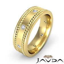 Flat Braided Band Men Diamond Solid Eternity Wedding Ring 18k Yellow Gold 0.20Ct