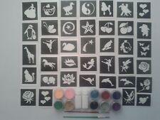 100 girls tattoos stencil glitter set incl. 10 glitter colours + glue Fund raise