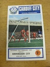 21/02/1970 Cardiff City v Birmingham City  (Crease). Unless stated previously in