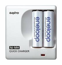 ENELOOP SANYO CARICABATTERIE Ni-MH inclusa 2 x batteria AA Quick Charger 100-240v