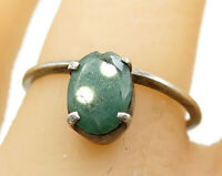 925 Sterling Silver - Vintage Minimalist Emerald Solitaire Ring Sz 7.5 - R5609