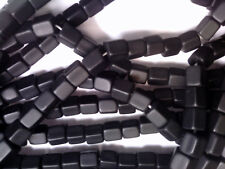 Vtg 25 FACETED MATTE BLACK ATLAS GLASS BEADS 9X8mm 082818m